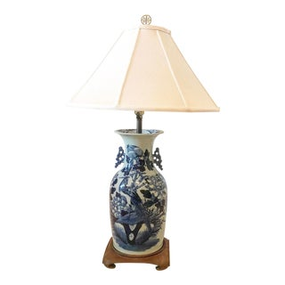 Blue and White Chinoiserie Porcelain Vase Lamp For Sale