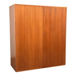 Large Teak Mid Century Armoire Cabinet For Sale