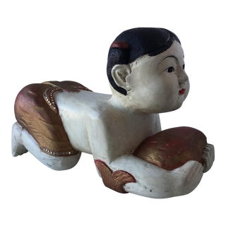 Large Carved Wood Thai Statue of Girl