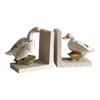 Vintage Italian Ceramic Swan Bookends - A Pair