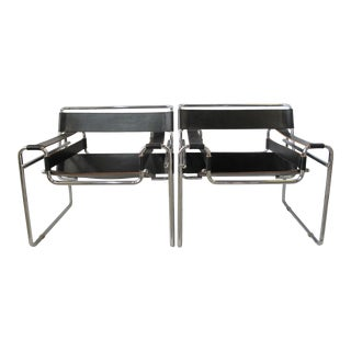 Pair Mid-Century Modern Chrome & Leather Sling-Back Chairs For Sale