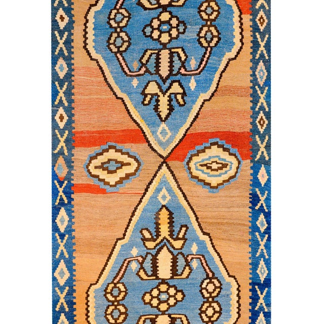 Tribal Bold Early 20th Century Azari Kilim Runner For Sale - Image 3 of 9