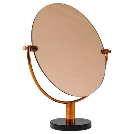 Copper Console or Table Mirror on Round Glass Foot, Germany, 1920s-1930s - Image 1 of 9