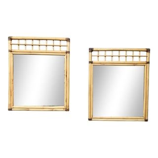 Vintage Bamboo Mirrors- a Pair For Sale