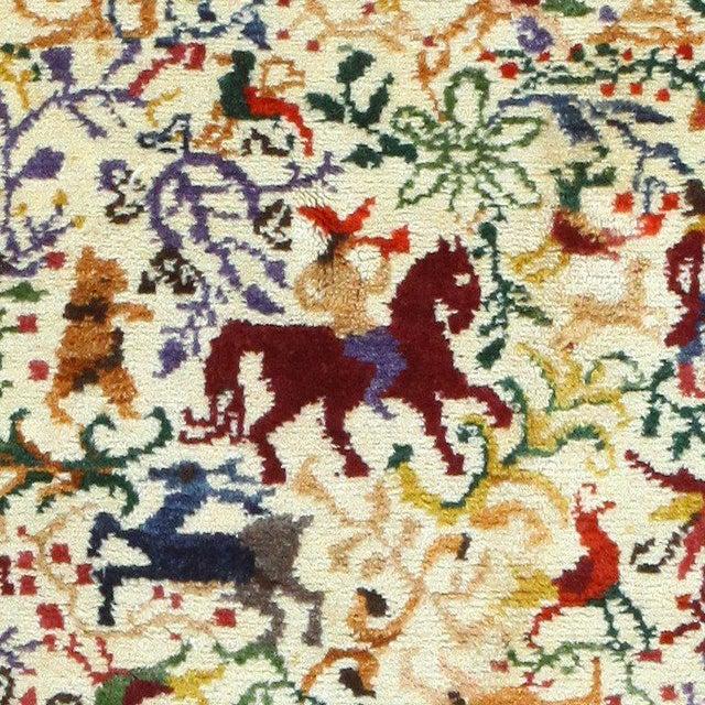 "Boho Chic Vintage Ecuadorian Animal Carpet - 3′10″ × 5′7"" For Sale - Image 3 of 7"