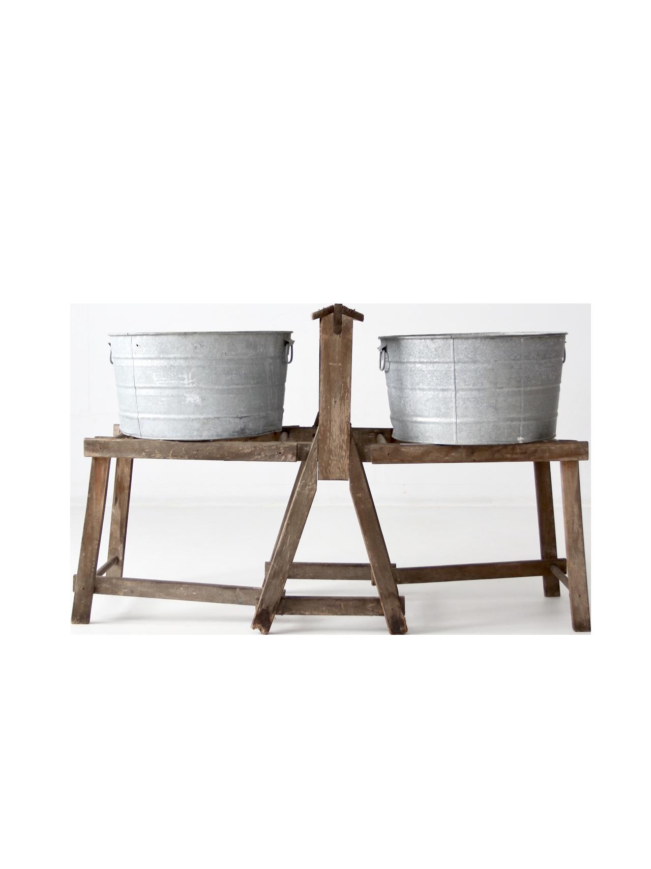 Antique Primitive Wash Tub Stand Chairish
