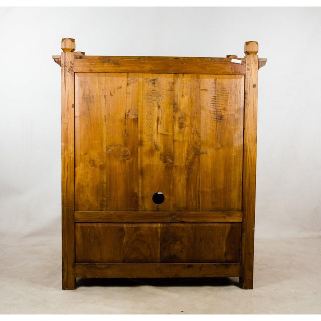 Vintage Indonesian Double Hinged Iron and Teak Cabinet For Sale - Image 12 of 13