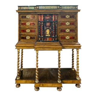 18th-19th Century Renaissance Style Tortoise Shell Vargueno Cabinet on Stand For Sale