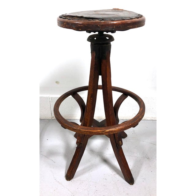 Antique Architectural Industrial Oak Drafting Stool For Sale - Image 4 of 13