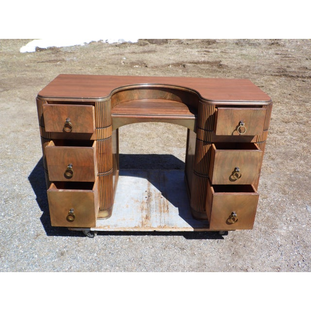 Antique Art Deco Walnut Office Desk Vanity United Furniture Co. c 1930's For Sale In Providence - Image 6 of 11