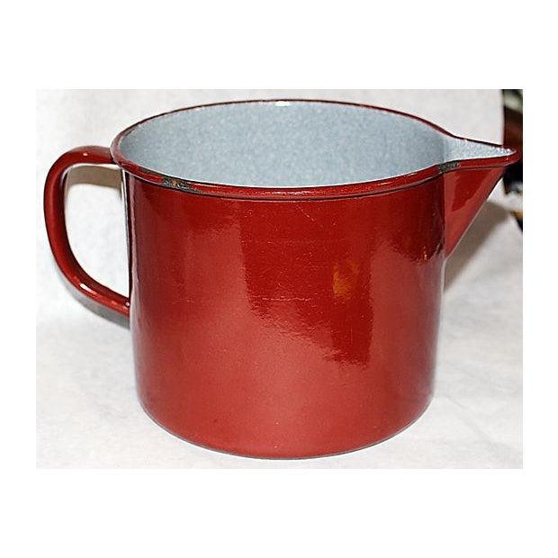 French Emanelware Lidded Pot & Pitcher - Image 6 of 7