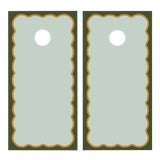Image of Chairish x The Muddy Dog Scalloped Cornhole Boards, Mist/Pine - 2 Boards + 8 Toss Bags For Sale