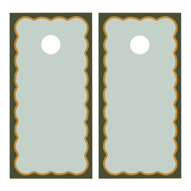 Chairish x The Muddy Dog Scalloped Cornhole Boards, Mist/Pine - 2 Boards + 8 Toss Bags For Sale