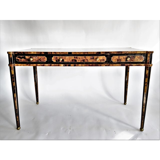 Maitland Smith Tesselated Horn and Brass Writing Partner Desk - Image 3 of 11