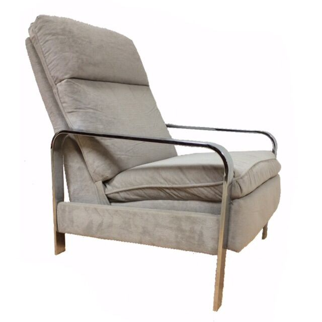 Milo Baughman Chrome Recliner - Image 1 of 8