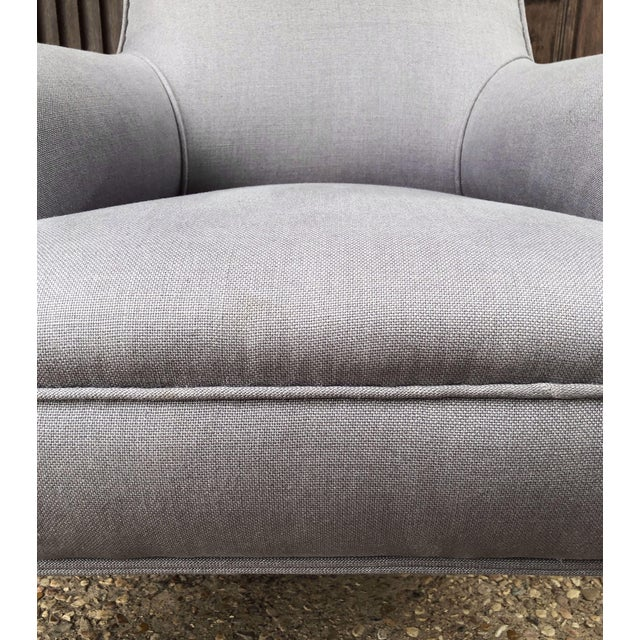 Linen Upholstery French Scroll-Back Armchair For Sale In Austin - Image 6 of 13