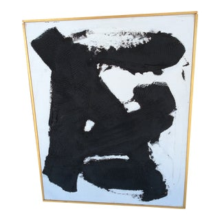 Highly Textured Black on White Painting 16 by 20 by Rg Goins For Sale