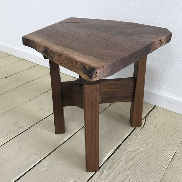 Solid California Walnut Stool For Sale - Image 9 of 11