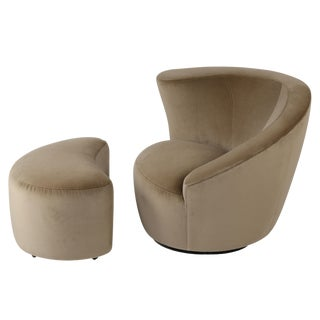 "VLADIMIR KAGAN ""CORKSCREW"" SWIVEL CHAIR AND OTTOMAN IN TAN VELVET, CIRCA 1990S"