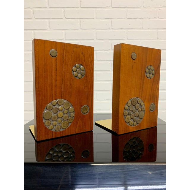 Gordon & Jane Martz for Marshall Studios Walnut and Tile Bookends For Sale - Image 10 of 10