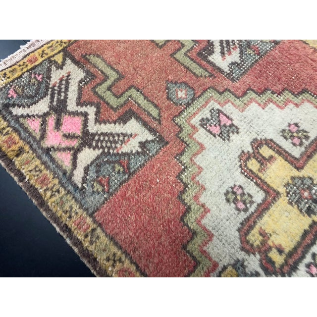 Red Turkish Handmade Faded Rug For Sale - Image 4 of 6