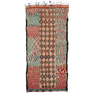 Vintage Moroccan Azilal Rug With Abstract Cubism Style, Moroccan Runner 04'04 X 08'06 For Sale
