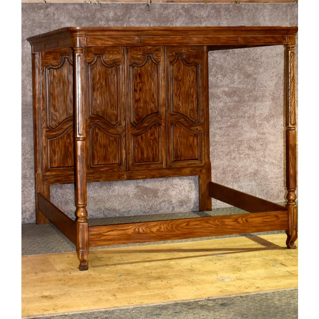 """Vintage tester bed has a French style. Made by Drexel Heritage. King size. Oak. The measurements are 84""""w x 92""""d x 80""""h...."""