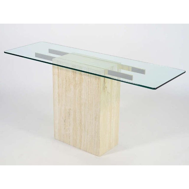 Modern Italian Travertine and Glass Console Table by Ello For Sale - Image 3 of 11