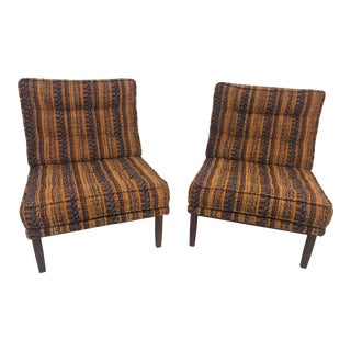 1960s Vintage Knoll Lounge Slipper Chairs - A Pair For Sale