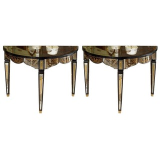 Gilt Decorated Mirrored Demilune Consoles - A Pair For Sale