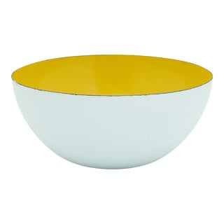 Vintage Large White Enamel Bowl With Yellow Interior For Sale