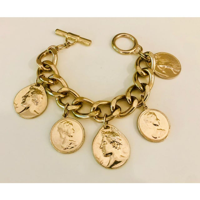 Gold 1980s Gold Roman Coin Charm Bracelet For Sale - Image 8 of 8