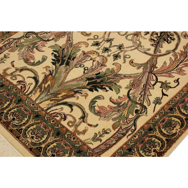 Art Nouveau Bhati Pak-Persian Zelda Ivory/Pink Wool Rug - 4'1 X 6'7 For Sale In New York - Image 6 of 8