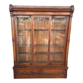 Victorian Eastlake Bookcase 3 Door For Sale