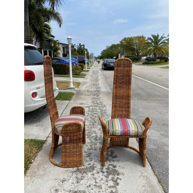 Wicker Arm Chairs - a Pair For Sale - Image 9 of 11