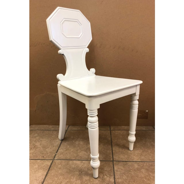 Pair of 19th Century English White Lacquered Hall Chairs For Sale - Image 4 of 9
