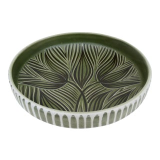 Scandinavian Norwegian Original Hand-Painted & Numbered Matte Glazed Clay Pottery Large Display Charger For Sale