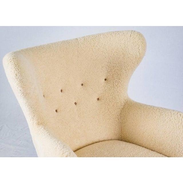 Cream Scandinavian Sheepskin Lounge Chair For Sale - Image 8 of 10