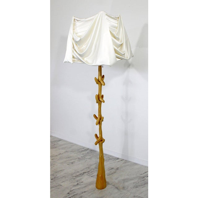 For your consideration is an original, Muletas floor lamp, made of wood and with the original textile linen shade,...