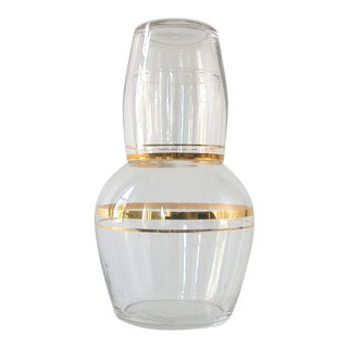 Bedside Carafe & Glass with Gold Stripe