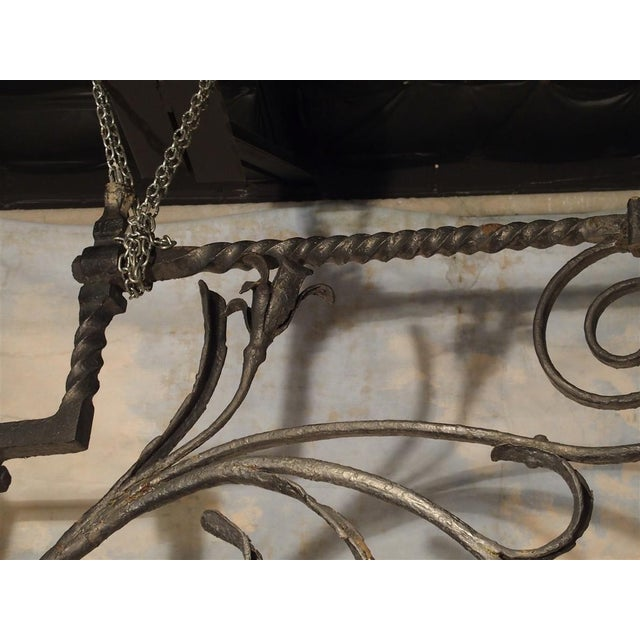 Massive Circa 1700 Forged Iron Lantern Holder From a Castle in Wallonia Belgium For Sale - Image 4 of 12