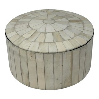 Vintage Decorative Tessellated Stone Round Box For Sale