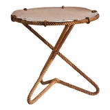 Image of Mid Century French Rope Side Table With Resin Top For Sale