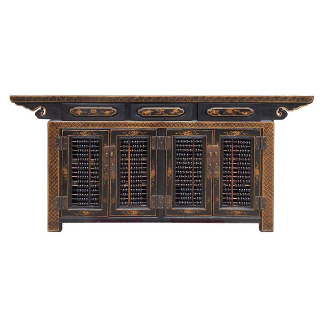 Dark Brown Rattan Top Abacus Accent Credenza - Image 1 of 6