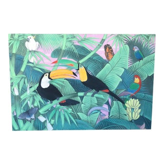 Vintage Palm Beach Regency Tropical Toucan & Parrot Painting on Muslin Fabric For Sale