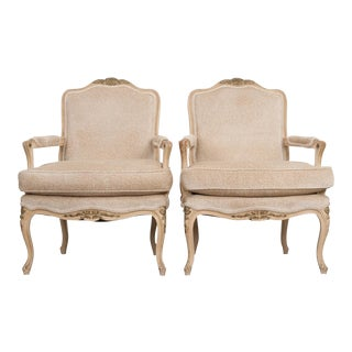 Pair of French 19th Century Louis XV‑Style Crème Peinte Fauteuils, For Sale