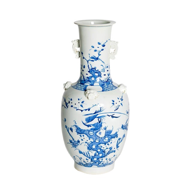 19th Century Chinese Blue and White Qing Period Vase With Foo Dog Heads For Sale