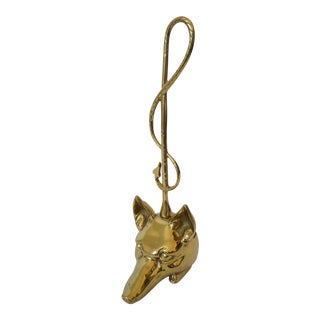 Vintage Edwardian Style Doorstop Fox and Riding Crop Door Stop Polished Brass For Sale