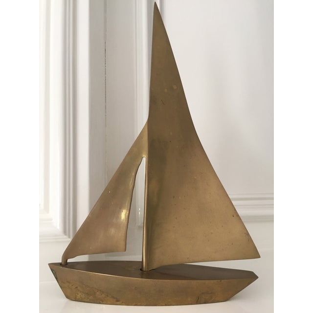 Large solid brass sailboat for the Mid Century Modern lover. Gorgeous patina, but could polish to look new. Fantastic...