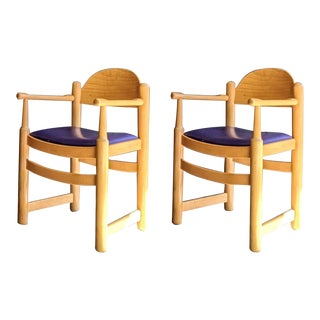 Italian Modernist Armchairs in Beech Wood - a Pair For Sale